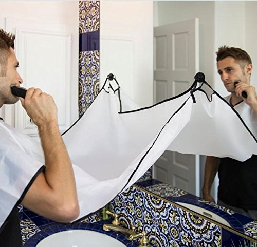 Beard Bib Apron For Man Shaving & Hair Clippings Catcher Grooming Cape Apron Keep Sink Clean - White