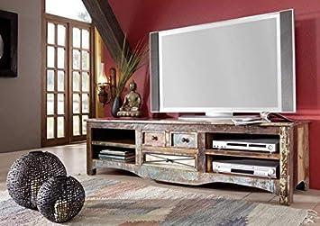 Meuble Tv Bois Massif Recycle Multicolore Laque