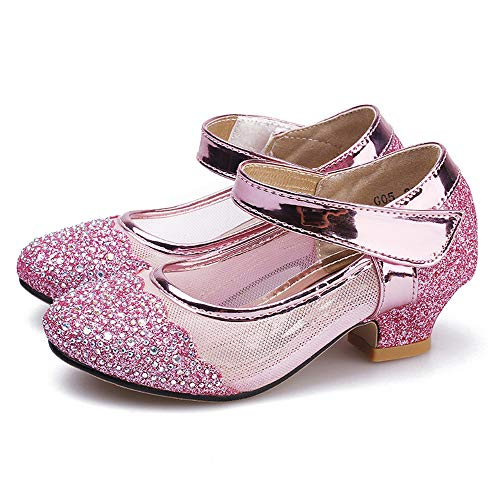 YANJK Girl Shoes for Kids High Heel Leather Girls Shoes Princess Shoes Dance Shoes(Pink,11)]()