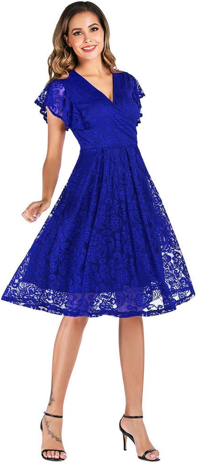 FRAUIT Damen Kurzarm Kleider Festliches Spitzenkleid V-Ausschnitt