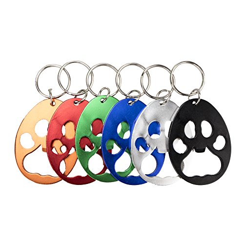 Swatom Bear paw Keychain Bottle Opener Beer Opener Tool, Key Tag Chain Ring, 6 Piece