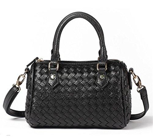 tracolla Handle Small nero Crossbody Zipper Top PU New Bucket Bag Katoony Fashion Womens Handbag Woven 6fTnqOY