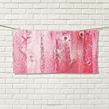 smallbeefly Pink and White Sports Towel Distressed Vintage Grunge Texture Image of Wood Planks Painted in Pink Absorbent Towel Dark Coral Pink Size: W 12'' x L 35.22''