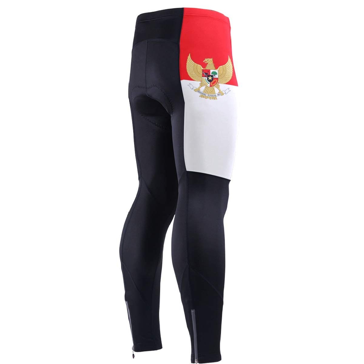 Men's Cycling Jersey Long Sleeve with 3 Rear Pockets Pants Indonesia Flag National Emblem by CHINEIN