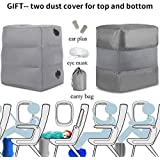 HAOBAIMEI Travel/Airplane Pillow for Leg/Foot Rest, Inflatable Multi-Function for Kids to Lay Down on Long Flights,Suitable for Airplanes, Cars, Buses, Trains, Office, Home, Camping (Grey)