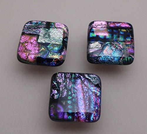 - Set of 3 Magenta pink purple fused dichroic glass cabinet knobs drawer pulls satin nickel finish