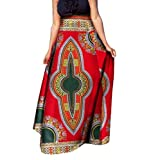 Winwinus Women Dashiki Big Pendulum Half Skirt African Print Retro Long Skirt 10 L