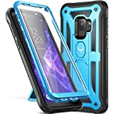 Galaxy S9 Case, YOUMAKER Heavy Duty Protection Kickstand with Built-in Screen Protector Shockproof Case Cover for Samsung Galaxy S9 5.8 inch (2018 Release) - Blue
