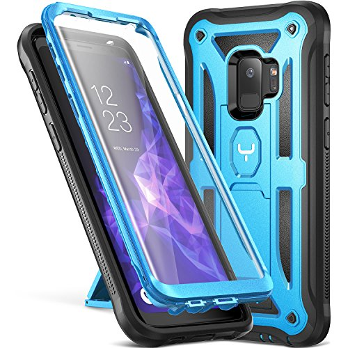 Galaxy S9 Case, YOUMAKER Heavy Duty Protection Kickstand with Built-in Screen Protector Shockproof Case Cover for Samsung Galaxy S9 5.8 inch (2018 Release) - Blue -