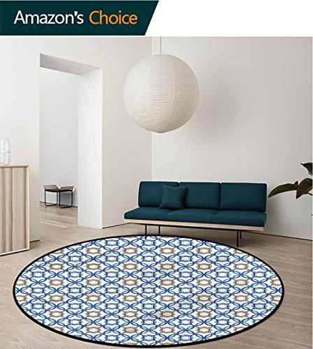 RUGSMAT Quatrefoil Round Rug,Ancient Delft Blue Non Skid Nursery Kids Area Rug for Bedroom Machine Washable -