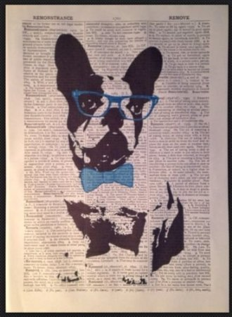 French Bulldog Print Vintage Dictionary Page Wall Art Picture Hipster (Antique Dog Art)