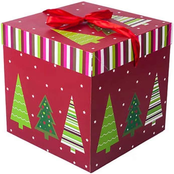 Fan Doria Caja de caja de regalo de Navidad árbol de Navidad Papá Noel Imprimir pequeñas y medianas regalo Cajas, color rojo-2 10cm: Amazon.es: Oficina y papelería