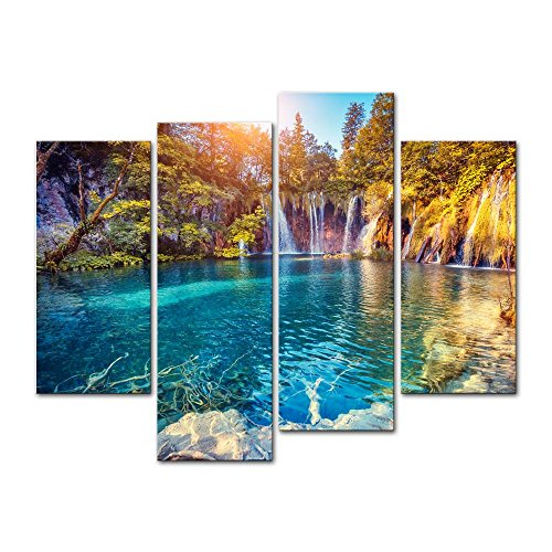 4 Pieces Modern Canvas Painting Wall Art Picture For Home Decoration Turquoise Water Sunny Beams Plitvice Lakes National Park Croatia Landscape Mountain Lake Print On Canvas Giclee Artwork Wall Decor