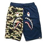 Athletic Pants Shark Pattern Camouflage Stitching Shorts Men Drawstring Sports Shorts(Blue L)