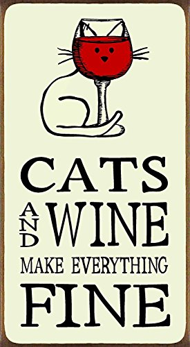 uniquepig Cats and Wine Make Everything Fine Funny Quotes Wood Hanging Sign Home Decor for Kitchen Wall Art Plaque 10x30cm