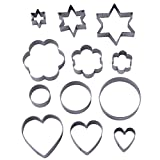 12 Pieces Metal Cookie Cutters, 3 Stars Shape, 3 Flowers Shape, 3 Round Shape, 3 Hearts Shape (Assorted Sizes)