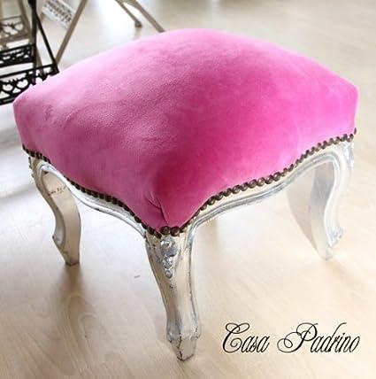 Casa-Padrino Escabel barroco Rosa/Plata - muebles antiguos - Heces ...