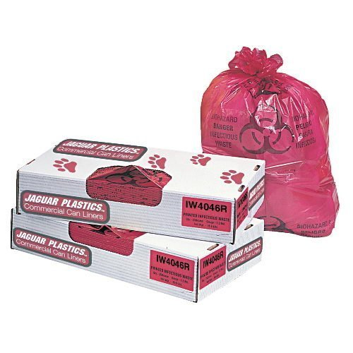 Jaguar Plastics Health Care ''Biohazard'' Printed Liners, 1.35mil, 36 x 58, Red, 100/Carton by Jaguar Plastics (Image #1)