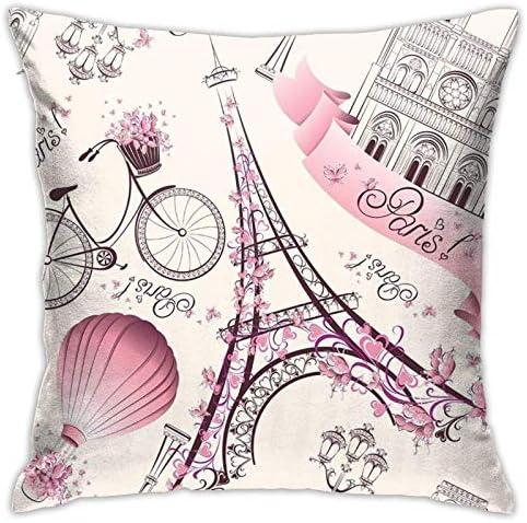 Roze Parijs Eiffeltoren gooien kussenhoezen decoratieve kussensloop bank vierkante kussenhoes hoes voor bed auto 18 x 18 inch