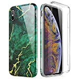 SURITCH Marble iPhone Xs Max Case, [Built-in Screen Protector] Full-Body Protection Hard PC Bumper + Glossy Soft TPU Rubber Gel Shockproof Cover Compatible with Apple Xs Max- Green/Gold