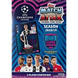 2018 2019 Topps UEFA Champions League Match Attax Soccer Trading Card Game Sealed Two Player Starter Box with 38 Cards and Game Mat Plus a Bonus Cristiano Ronaldo Limited Edition Super Squad Card