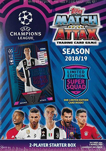 (2018 2019 Topps UEFA Champions League Match Attax Soccer Trading Card Game Sealed Two Player Starter Box with 38 Cards and Game Mat Plus a Bonus Cristiano Ronaldo Limited Edition Super Squad Card)