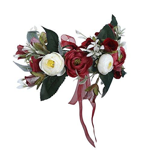 Flower Crown Bohemian Floral Headdress - AWAYTR Female Flower Headband Hair Wreath Wedding Hair Accessories (Dark red-A)