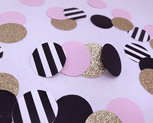(Paris Party Confetti, Bridal Shower Confetti, Paris Party, Wedding Confetti, Bachelorette, Baby Shower, Black Gold Pink Stripes, Paris Party Confetti, Paris Party)
