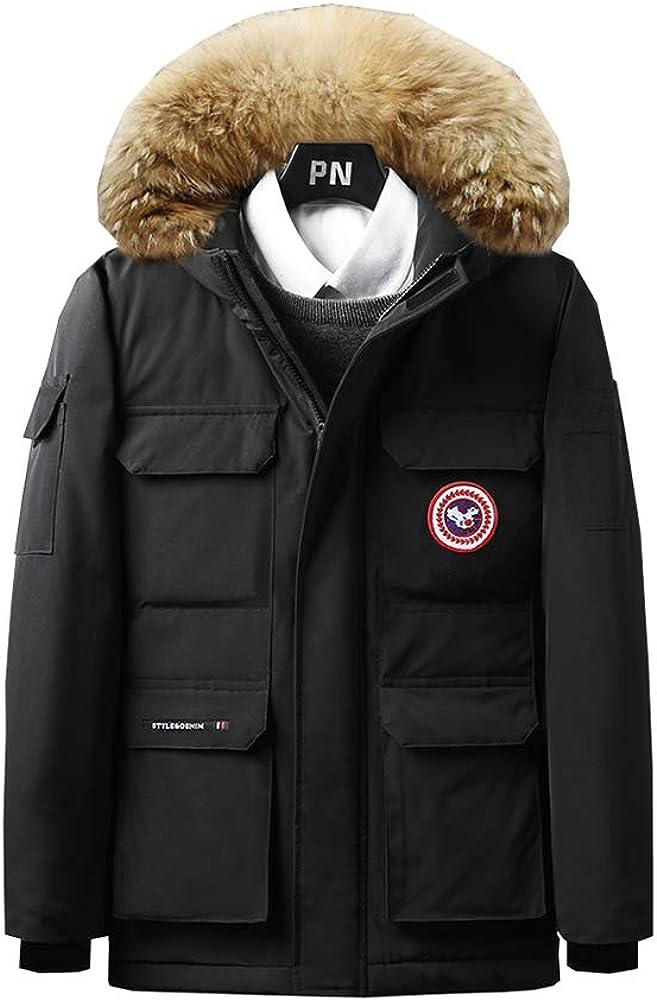 Gumstyle Anime Akame Ga Kill Parka Jacket Coat Mens Winter Hooded Sweatshirt with Faux Fur Trim Hood