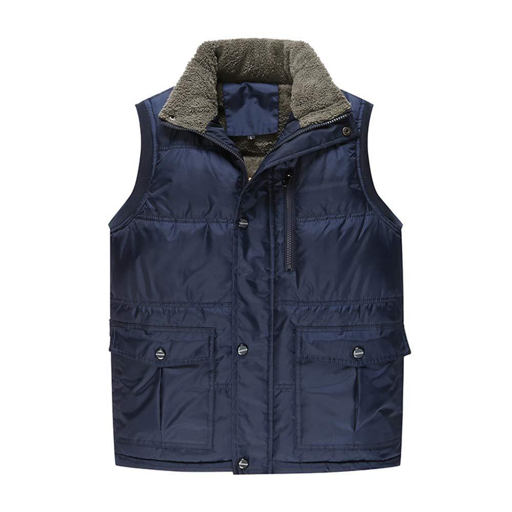 Vertvie Homme Gilet Doudoune Matelassé Ultra Léger Jacket Manteau sans Manches Zip Col Montant Veste Polaire Chaud Hiver avec Poche Bleu