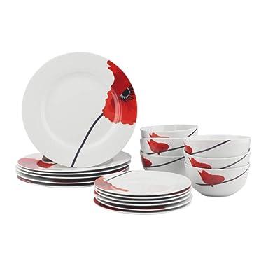 AmazonBasics 18-Piece Kitchen Dinnerware Set, Dishes, Bowls, Service for 6, Poppy