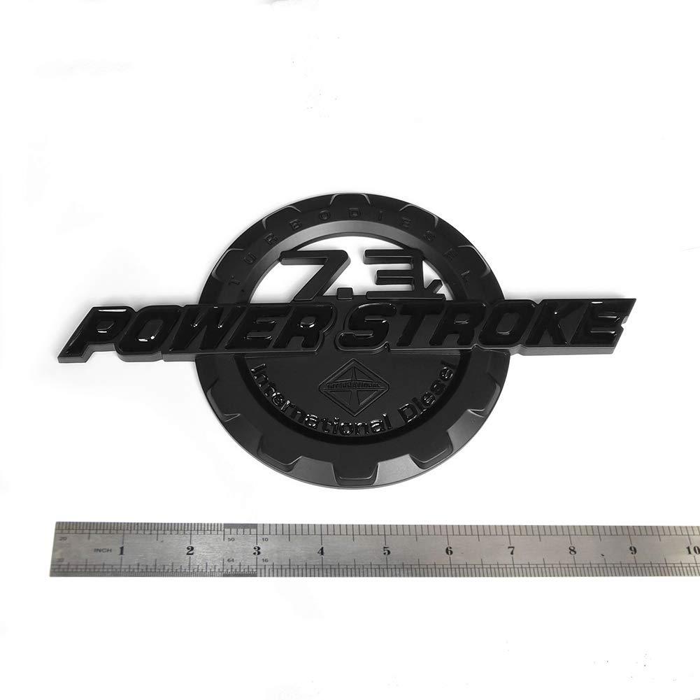 2x OEM Black 7.3L POWER STROKE International Side Fender Emblems Badge Powerstroke 3D logo Replacement for F250 F350 Sanucaraofo