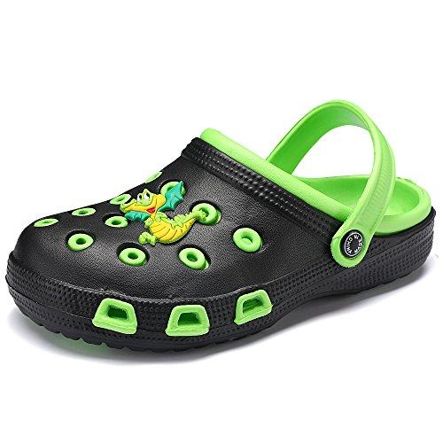 VILOCY Kid's Cute Garden Shoes Cartoon Slides Sandals Clogs Children Beach Slipper Green,25