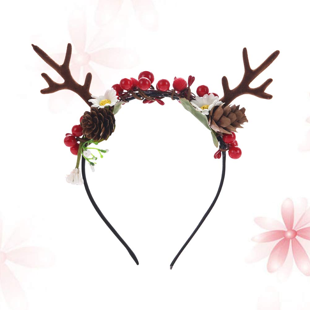 Amazon.com   Christmas Artificial Deer Antler Headband With Flowers Blossom  Berry Hair Band Christmas Hair Accessories   Beauty e324010830e