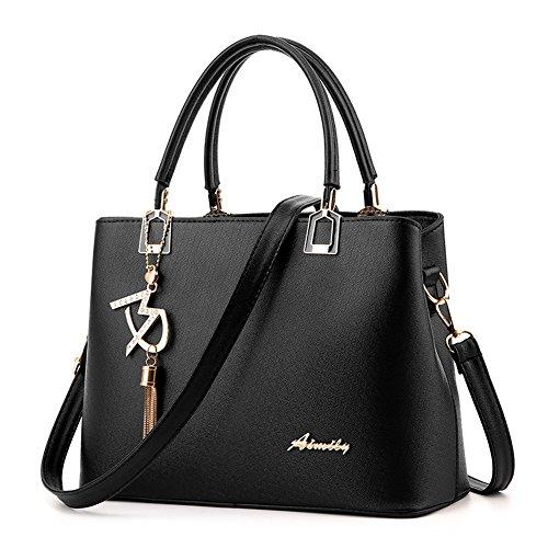 Covelin Fashion Leather Top Handle Handbag Sling Purse Tote Shoulder Bag with Decoration