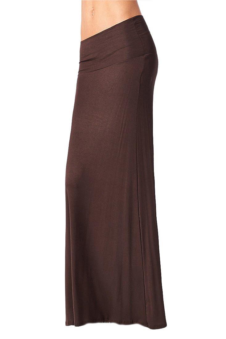4e5a6621e2ead Azules Women S Rayon Span Maxi Skirt - Dark Brown 2X at Amazon Women s  Clothing store