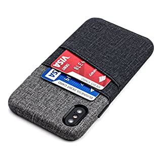 Dockem Luxe iPhone X/XS Wallet Case: Slim Minimalist Case w/ 2 Credit Card Holder Slots: UltraGrip Canvas Style Synthetic Leather (Black and Grey)