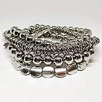 Pulsera Uno de Tres. Pulsera mujer color plata y cuero, collar corto, largo y brazalete estilo uno de 50 antialérgica…
