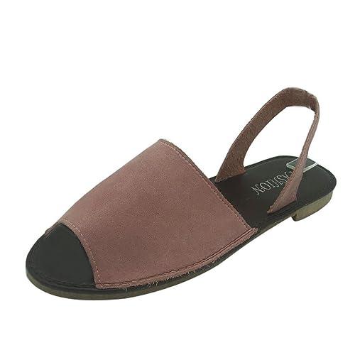 ASHOP Sandalias Mujer Bohemia Las Bailarinas Planas Zapatos de Cordones Verano Alpargatas de Boca de Pescado