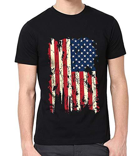 - USA Flag Distressed Vintage Shirt for Men - Adult American Flag T-Shirt (XL)