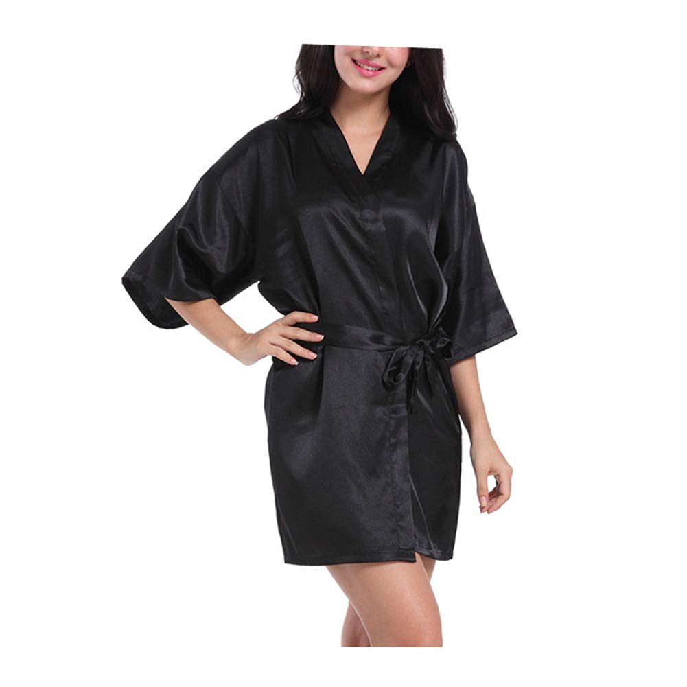 Morbuy Lencer/ía Kimono Batas de casa con Escote de Seda Sat/én Camis/ón Ropa de Dormir Cama Albornoz Dama,1Pcs