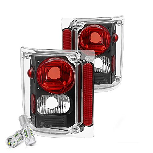 ([Cree LED Reverse Bulbs] - VIPMOTOZ For 1973-1987 Chevy GMC C/K 1500 2500 3500 Pickup Suburban Tail Lights - Matte Black Housing, Driver and Passenger Side)