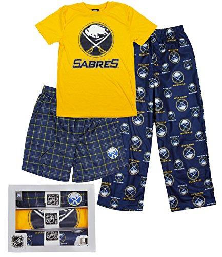 Buffalo Sabres NHL Big Boys 3-piece Boxed Pajama Set, Blue & Yellow (Ennis Bed Set)