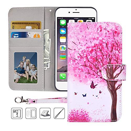 iPhone 6S Wallet Case,iPhone 6 Wallet Case,MagicSky Premium PU Leather Flip Folio Case Cover with Wrist Strap, Card Holder,Cash Pocket,Kickstand for Apple iPhone 6/6S 4.7 inch(Pink Tree)