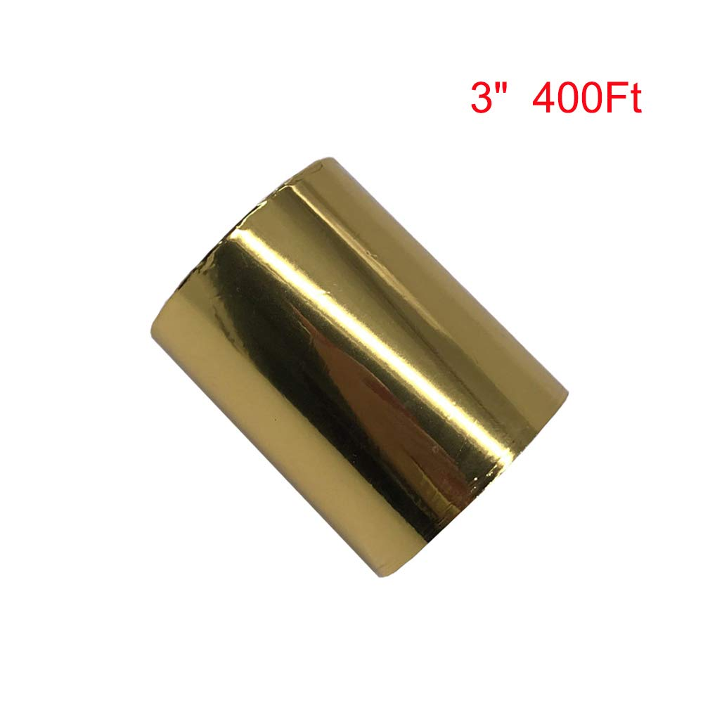 3'' 400ft Hot Foil Stamping Paper for Leather Bronzing Machine PU Heat Transfer Anodized Gilded Paper (8cm Width) by TOAUTO