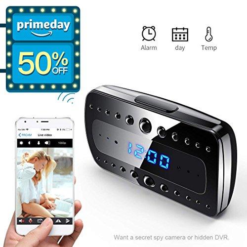 Buy now FREDI Wireless Hidden Camera Alarm Clock HD 1080P Wifi Home Surveillance Cameras Night
