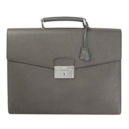 Prada Gray Saffiano Leather Briefcase BR0006
