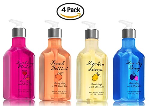 Cherry White Zinfandel Wine (Bath and Body Works Luxury Hand Soap with Olive Oil (Set of 4) Black Cherry Merlot + Peach Bellini + Kitchen Lemon + Blue Sky Berry -- Bath & Body Works Fruit Hand Soaps with Nourishing Olive Oil)