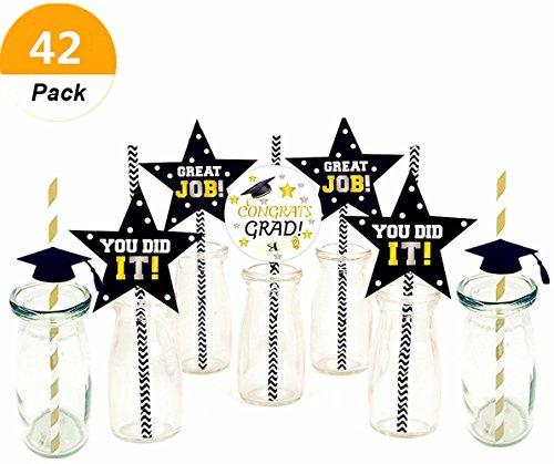 Kindergarten Food Graduate ((Set of 42) Sakolla 2018 Graduation Stars Cheers Worth The Hassle Paper Straw Decor Striped Decorative Straws Graduation Favors)