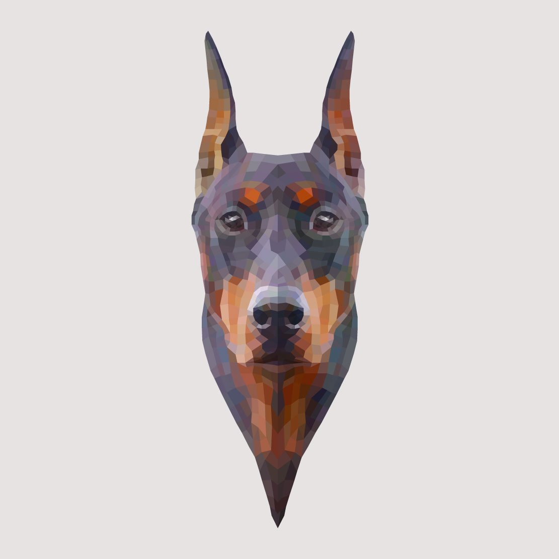 Doberman pinscher made of geometric shapes watercolor decal five inch tall full color decal for indoor or outdoor use car truck laptop macbook